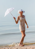 Woman with white umbrella Royalty Free Stock Images