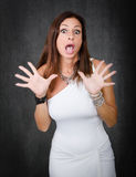 Woman in white unbelievable face Royalty Free Stock Photo