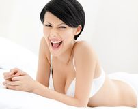 Woman in white underwear Royalty Free Stock Photos