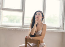 Woman in white underwear. Royalty Free Stock Photos