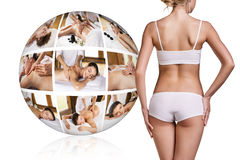 Woman in white underwear near collage ball Royalty Free Stock Photography