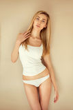 Woman in white underwear Stock Photo