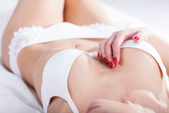 Woman in white underwear tempting Royalty Free Stock Photos