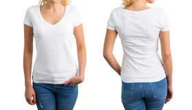 Woman in white V-neck T-shirt, front and back Stock Photo