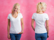 Woman in white V- neck T-shirt on pink background. Front and back Royalty Free Stock Images
