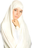 Woman in a white veil. Young woman in a white veil Royalty Free Stock Photos