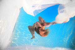 Woman white veil underwater Royalty Free Stock Photography