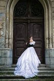 Woman in white Victorian dress royalty free stock photo