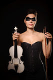 Woman with white violin Stock Images