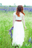 Woman in white walking in lupine field Royalty Free Stock Photography