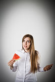 Woman in white and Watermelon. Stock Photography