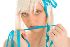 Woman in white wig Stock Image