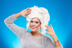 Woman in white wig Royalty Free Stock Photos