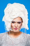 Woman in white wig Royalty Free Stock Image