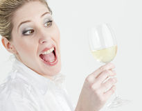 Woman with white wine Stock Photos