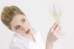 Woman with white wine Royalty Free Stock Image