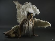 Woman in White Wings With Headdress Royalty Free Stock Images