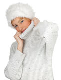 Woman in white winter hat Royalty Free Stock Photography
