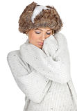 Woman in white winter hat Stock Image