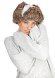 Woman in white winter hat Stock Photo