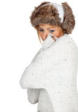 Woman in white winter hat Stock Photography