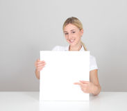 Woman with whiteboard Stock Photos