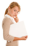 Woman with whiteboard stock image