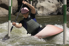 Woman Whitewater Kayaking Royalty Free Stock Photography