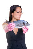 Woman who doesn't like fish Stock Photos