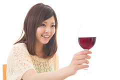 The woman who drinks wine. The young woman who drinks wine Royalty Free Stock Photo
