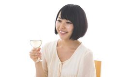 Woman who drinks wine Stock Photography