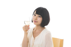 Woman who drinks wine Royalty Free Stock Photos