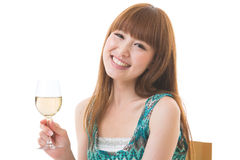 The woman who drinks wine Royalty Free Stock Photography