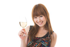 The woman who drinks wine Royalty Free Stock Photos
