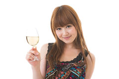 The woman who drinks wine Royalty Free Stock Images