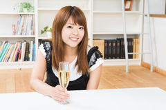 The woman who drinks wine Stock Images