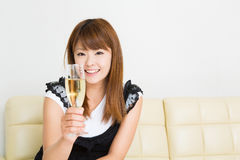 The woman who drinks wine Stock Photos