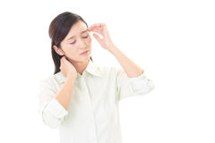 Woman who has a headache Stock Images