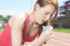 Woman who have a asthme crisis outside Royalty Free Stock Photo
