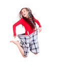 Woman who lost weight is jumping with joy Stock Photography