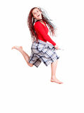 Woman who lost weight is jumping with joy Royalty Free Stock Photography