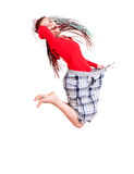 Woman who lost weight is jumping with joy Royalty Free Stock Image