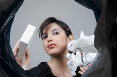 Woman who recycles paper Stock Photography