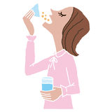 Woman who takes medicine. The woman who takes medicine with poor physical condition stock illustration