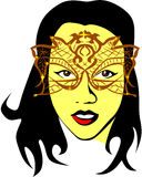 Woman who wears a glittering mask Royalty Free Stock Image