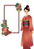The woman who wore a kimono Royalty Free Stock Images