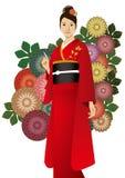 The woman who wore a kimono Stock Photography