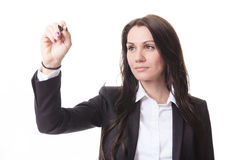 Woman who write something with is hand on Royalty Free Stock Photography