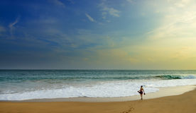 Woman on the wide beach of the ocean Royalty Free Stock Image