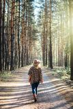 Woman in wide-brimmed felt hat and authentic poncho standing on a dirt road in foggy pine tree forest. Vertical orientation.  royalty free stock image